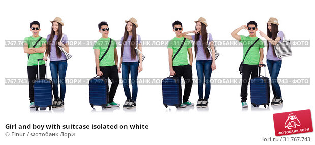 Купить «Girl and boy with suitcase isolated on white», фото № 31767743, снято 20 апреля 2013 г. (c) Elnur / Фотобанк Лори