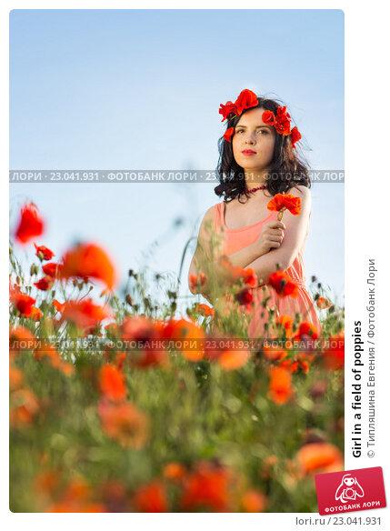 Купить «Girl in a field of poppies», фото № 23041931, снято 30 мая 2016 г. (c) Типляшина Евгения / Фотобанк Лори