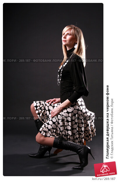 Гламурная девушка на черном фоне, фото № 269187, снято 25 апреля 2007 г. (c) Гладских Татьяна / Фотобанк Лори