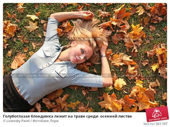 Голубоглазая блондинка лежит на траве среди  осенней листве, фото № 261107, снято 25 марта 2017 г. (c) Losevsky Pavel / Фотобанк Лори