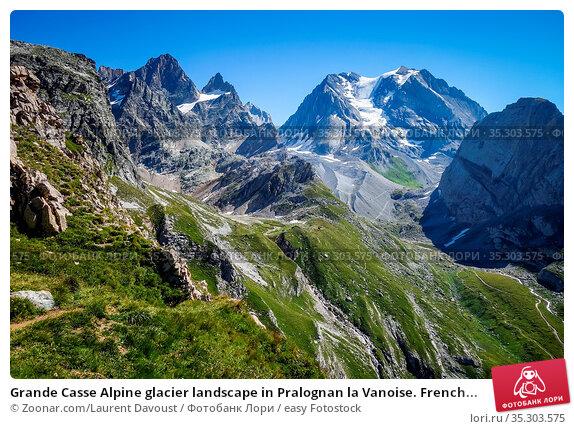 Grande Casse Alpine glacier landscape in Pralognan la Vanoise. French... Стоковое фото, фотограф Zoonar.com/Laurent Davoust / easy Fotostock / Фотобанк Лори