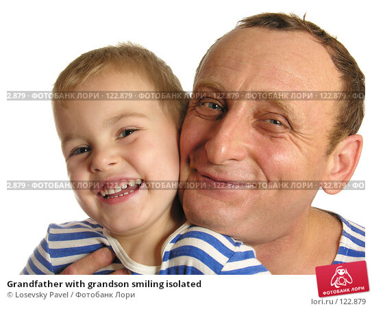 Grandfather with grandson smiling isolated, фото № 122879, снято 11 ноября 2005 г. (c) Losevsky Pavel / Фотобанк Лори