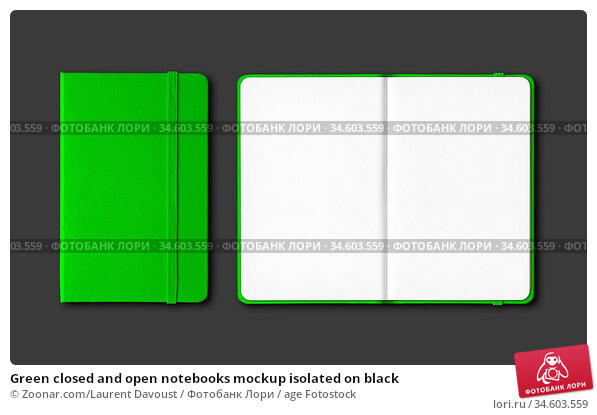 Green closed and open notebooks mockup isolated on black. Стоковое фото, фотограф Zoonar.com/Laurent Davoust / age Fotostock / Фотобанк Лори