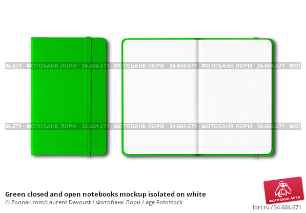 Green closed and open notebooks mockup isolated on white. Стоковое фото, фотограф Zoonar.com/Laurent Davoust / age Fotostock / Фотобанк Лори