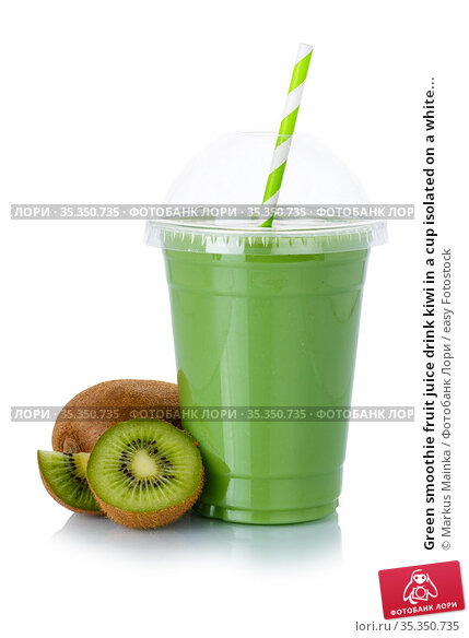Green smoothie fruit juice drink kiwi in a cup isolated on a white... Стоковое фото, фотограф Markus Mainka / easy Fotostock / Фотобанк Лори