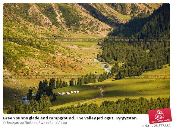 Купить «Green sunny glade and campground. The valley Jeti oguz. Kyrgyzstan.», фото № 28577339, снято 18 июня 2018 г. (c) Владимир Пойлов / Фотобанк Лори