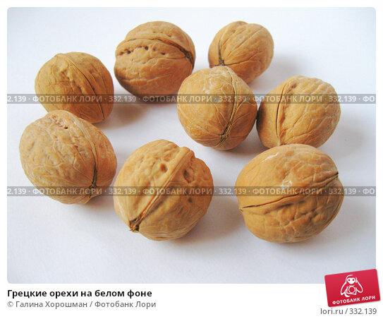 Грецкие орехи на белом фоне, фото № 332139, снято 10 июня 2008 г. (c) Галина Хорошман / Фотобанк Лори