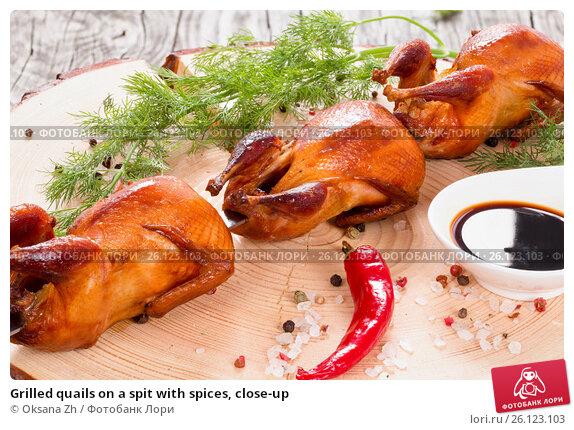 Купить «Grilled quails on a spit with spices, close-up», фото № 26123103, снято 21 мая 2019 г. (c) Oksana Zh / Фотобанк Лори