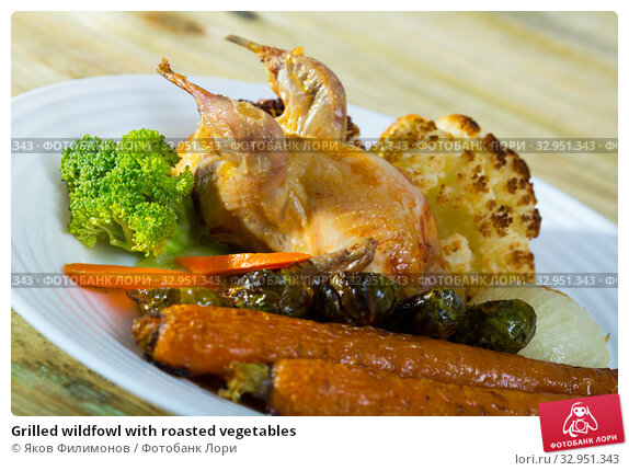 Grilled wildfowl with roasted vegetables. Стоковое фото, фотограф Яков Филимонов / Фотобанк Лори
