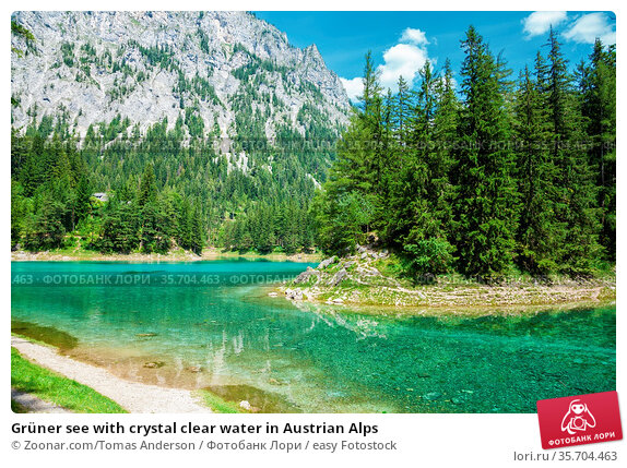 Grüner see with crystal clear water in Austrian Alps. Стоковое фото, фотограф Zoonar.com/Tomas Anderson / easy Fotostock / Фотобанк Лори