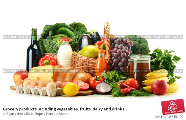 Купить «Grocery products including vegetables, fruits, dairy and drinks», фото № 10615199, снято 23 февраля 2019 г. (c) PantherMedia / Фотобанк Лори