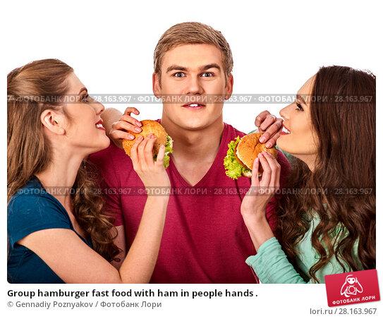 Купить «Group hamburger fast food with ham in people hands .», фото № 28163967, снято 15 октября 2015 г. (c) Gennadiy Poznyakov / Фотобанк Лори
