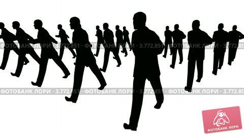 Купить «Группа бизнесменов марширует  белом фоне. Силуэты», видеоролик № 3772851, снято 21 марта 2009 г. (c) Losevsky Pavel / Фотобанк Лори