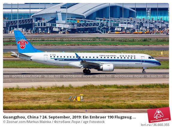 Guangzhou, China ? 24. September, 2019: Ein Embraer 190 Flugzeug ... Стоковое фото, фотограф Zoonar.com/Markus Mainka / age Fotostock / Фотобанк Лори