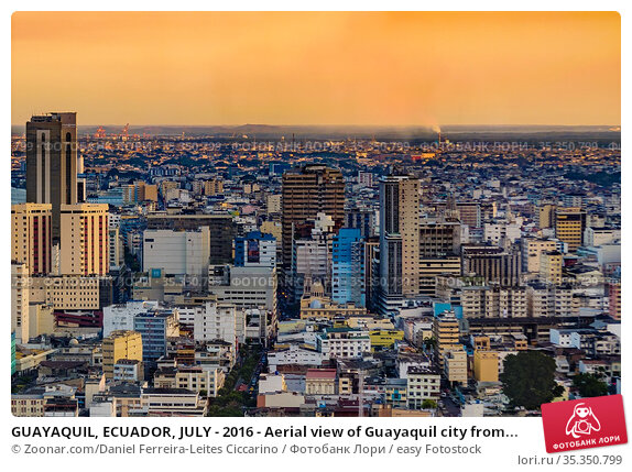 GUAYAQUIL, ECUADOR, JULY - 2016 - Aerial view of Guayaquil city from... Стоковое фото, фотограф Zoonar.com/Daniel Ferreira-Leites Ciccarino / easy Fotostock / Фотобанк Лори
