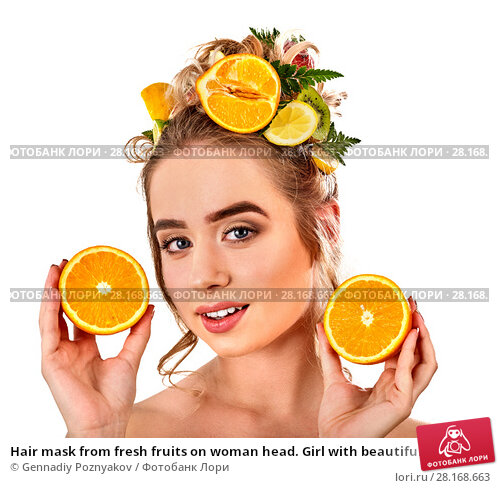 Купить «Hair mask from fresh fruits on woman head. Girl with beautiful face.», фото № 28168663, снято 18 марта 2017 г. (c) Gennadiy Poznyakov / Фотобанк Лори