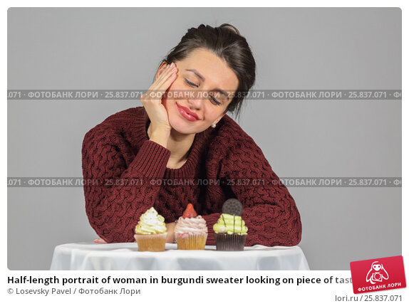 Купить «Half-length portrait of woman in burgundi sweater looking on piece of tasty chocolate cake, on gray background», фото № 25837071, снято 14 декабря 2014 г. (c) Losevsky Pavel / Фотобанк Лори