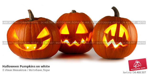Halloween Pumpkins on white. Стоковое фото, фотограф Иван Михайлов / Фотобанк Лори