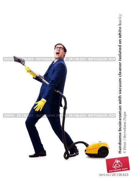 Купить «Handsome businessman with vacuum cleaner isolated on white backg», фото № 29138623, снято 24 октября 2017 г. (c) Elnur / Фотобанк Лори