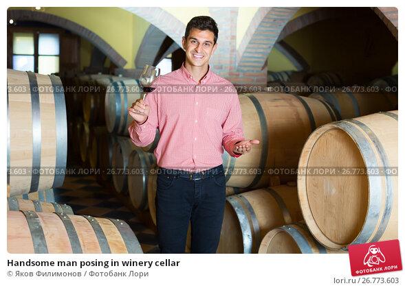 Купить «Handsome man posing in winery cellar», фото № 26773603, снято 21 сентября 2016 г. (c) Яков Филимонов / Фотобанк Лори