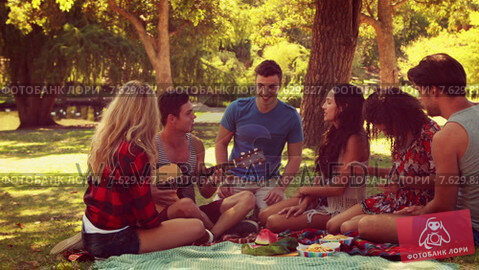 Happy friends in the park having picnic and playing guitar. Стоковое видео, агентство Wavebreak Media / Фотобанк Лори