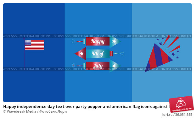 Happy independence day text over party popper and american flag icons against blue background. Стоковое фото, агентство Wavebreak Media / Фотобанк Лори