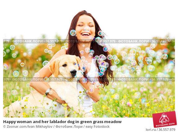 Happy woman and her lablador dog in green grass meadow. Стоковое фото, фотограф Zoonar.com/Ivan Mikhaylov / easy Fotostock / Фотобанк Лори