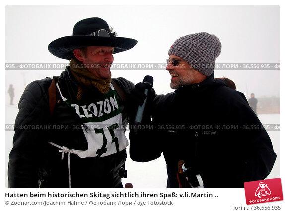 Hatten beim historischen Skitag sichtlich ihren Spaß: v.li.Martin... Стоковое фото, фотограф Zoonar.com/Joachim Hahne / age Fotostock / Фотобанк Лори
