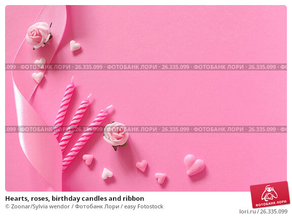 Hearts, roses, birthday candles and ribbon, фото № 26335099, снято 29 июня 2017 г. (c) easy Fotostock / Фотобанк Лори