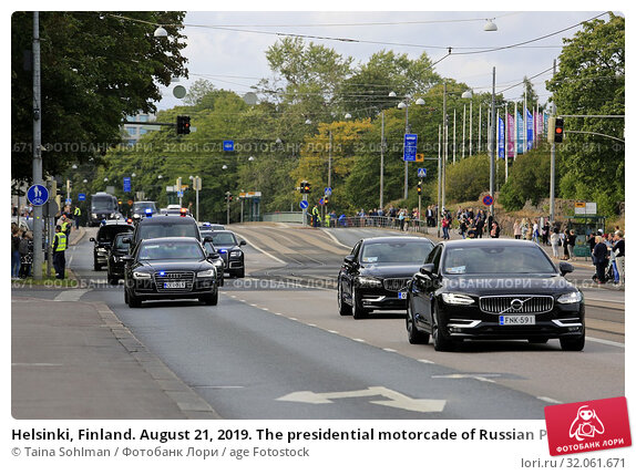 Helsinki, Finland. August 21, 2019. The presidential motorcade of Russian President Vladimir Putin on Mannerheimintie, Helsinki. President Vladimir Putin... Редакционное фото, фотограф Taina Sohlman / age Fotostock / Фотобанк Лори