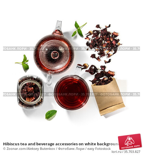 Hibiscus tea and beverage accessories on white background. Стоковое фото, фотограф Zoonar.com/Aleksey Butenkov / easy Fotostock / Фотобанк Лори