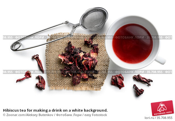 Hibiscus tea for making a drink on a white background. Стоковое фото, фотограф Zoonar.com/Aleksey Butenkov / easy Fotostock / Фотобанк Лори