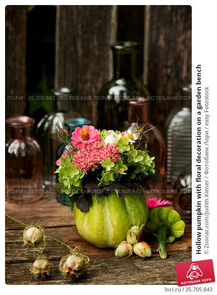 Hollow pumpkin with floral decoration on a garden bench. Стоковое фото, фотограф Zoonar.com/Judith Kiener / easy Fotostock / Фотобанк Лори