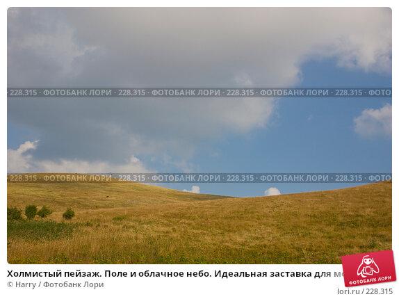 Холмистый пейзаж. Поле и облачное небо. Идеальная заставка для монитора, фото № 228315, снято 19 августа 2007 г. (c) Harry / Фотобанк Лори