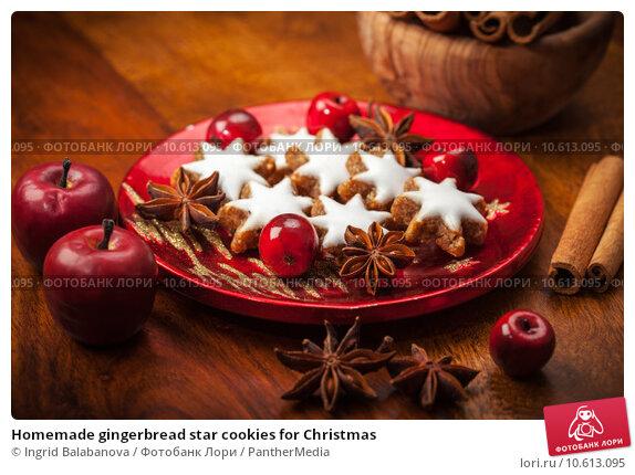 Homemade gingerbread star cookies for Christmas. Стоковое фото, фотограф Ingrid Balabanova / PantherMedia / Фотобанк Лори