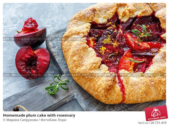 Купить «Homemade plum cake with rosemary», фото № 28731419, снято 29 июня 2018 г. (c) Марина Сапрунова / Фотобанк Лори