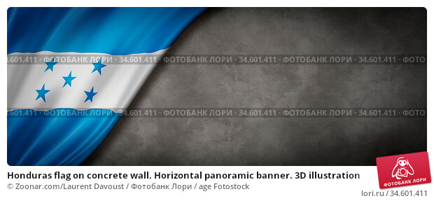 Honduras flag on concrete wall. Horizontal panoramic banner. 3D illustration. Стоковое фото, фотограф Zoonar.com/Laurent Davoust / age Fotostock / Фотобанк Лори