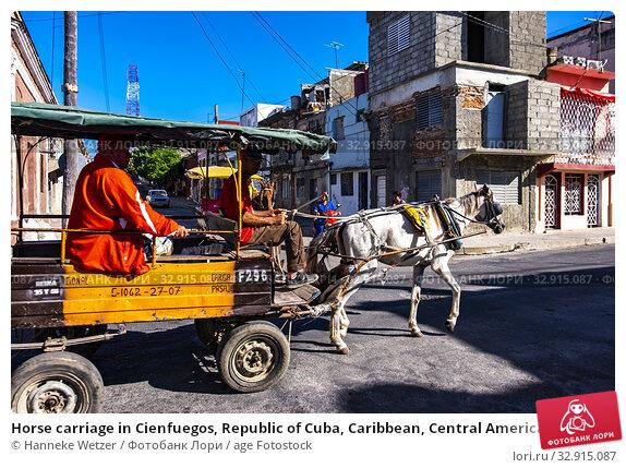 Horse carriage in Cienfuegos, Republic of Cuba, Caribbean, Central America. (2019 год). Редакционное фото, фотограф Hanneke Wetzer / age Fotostock / Фотобанк Лори
