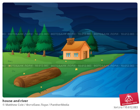 house and river. Стоковая иллюстрация, иллюстратор Matthew Cole / PantherMedia / Фотобанк Лори
