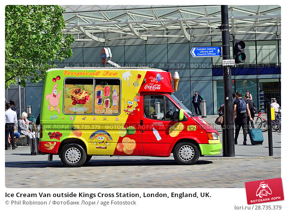 Купить «Ice Cream Van outside Kings Cross Station, London, England, UK.», фото № 28735379, снято 17 мая 2018 г. (c) age Fotostock / Фотобанк Лори