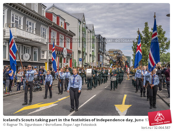 Iceland's Scouts taking part in the festivities of Independence day, June 17, Reykjavik, Iceland. (2019 год). Редакционное фото, фотограф Ragnar Th. Sigurdsson / age Fotostock / Фотобанк Лори