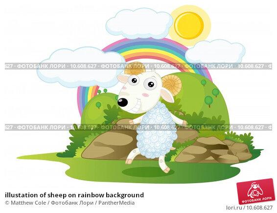 illustation of sheep on rainbow background. Стоковая иллюстрация, иллюстратор Matthew Cole / PantherMedia / Фотобанк Лори