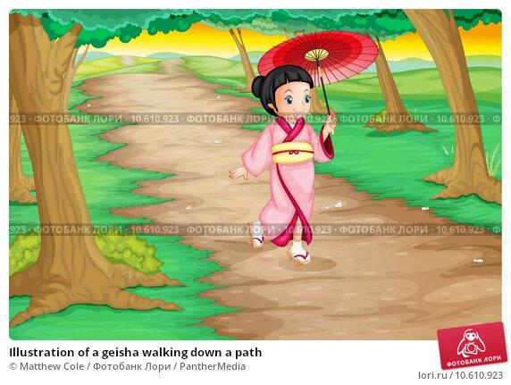 Illustration of a geisha walking down a path. Стоковая иллюстрация, иллюстратор Matthew Cole / PantherMedia / Фотобанк Лори