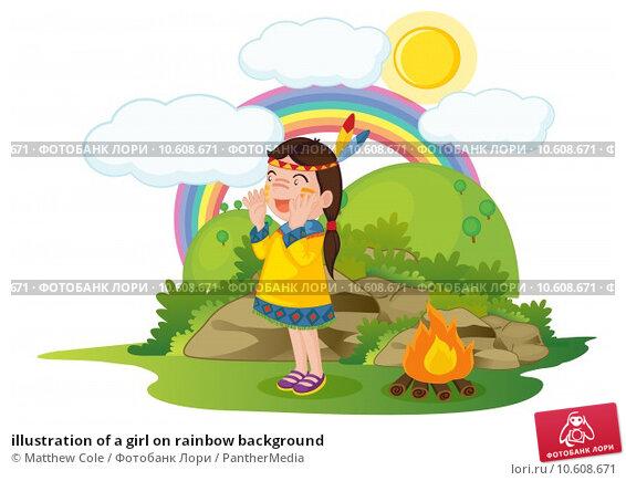 illustration of a girl on rainbow background. Стоковая иллюстрация, иллюстратор Matthew Cole / PantherMedia / Фотобанк Лори