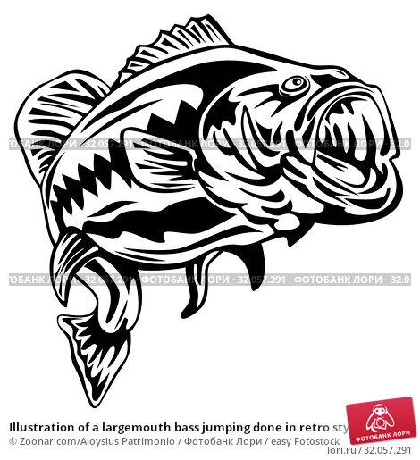 Illustration of a largemouth bass jumping done in retro style. Стоковое фото, фотограф Zoonar.com/Aloysius Patrimonio / easy Fotostock / Фотобанк Лори