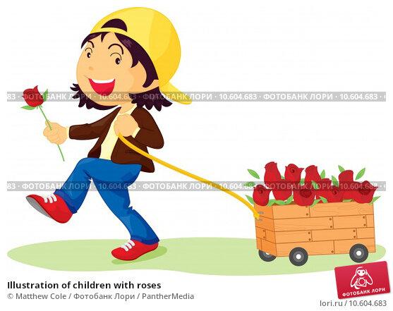 Illustration of children with roses. Стоковая иллюстрация, иллюстратор Matthew Cole / PantherMedia / Фотобанк Лори