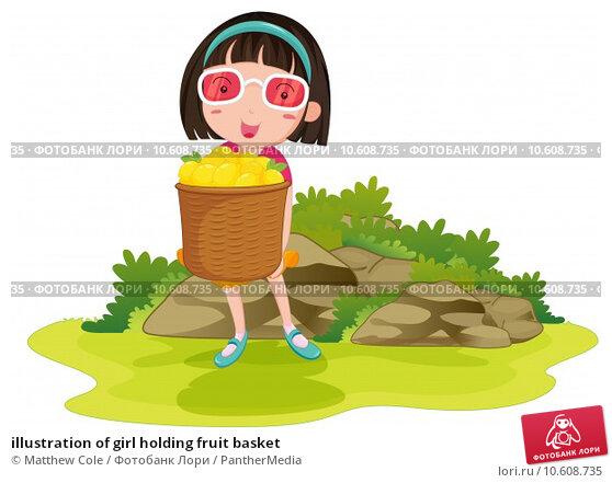illustration of girl holding fruit basket. Стоковая иллюстрация, иллюстратор Matthew Cole / PantherMedia / Фотобанк Лори