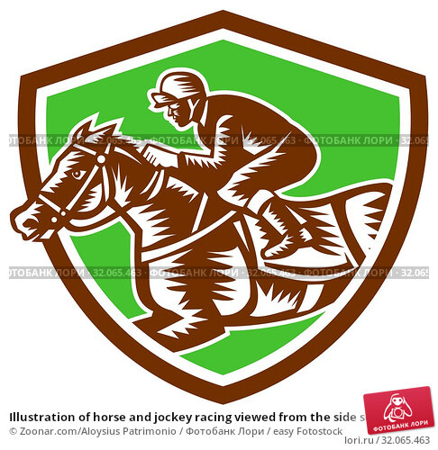 Illustration of horse and jockey racing viewed from the side set inside shield crest on isolated background done in retro woodcut style. Стоковое фото, фотограф Zoonar.com/Aloysius Patrimonio / easy Fotostock / Фотобанк Лори