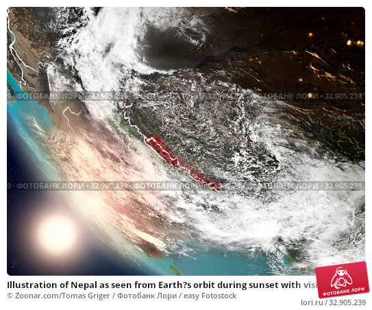 Illustration of Nepal as seen from Earth?s orbit during sunset with visible country borders. 3D illustration. Elements of this image furnished by NASA. Стоковое фото, фотограф Zoonar.com/Tomas Griger / easy Fotostock / Фотобанк Лори