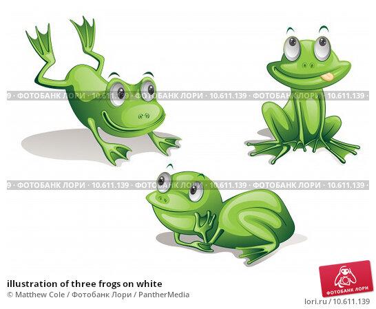 illustration of three frogs on white. Стоковая иллюстрация, иллюстратор Matthew Cole / PantherMedia / Фотобанк Лори